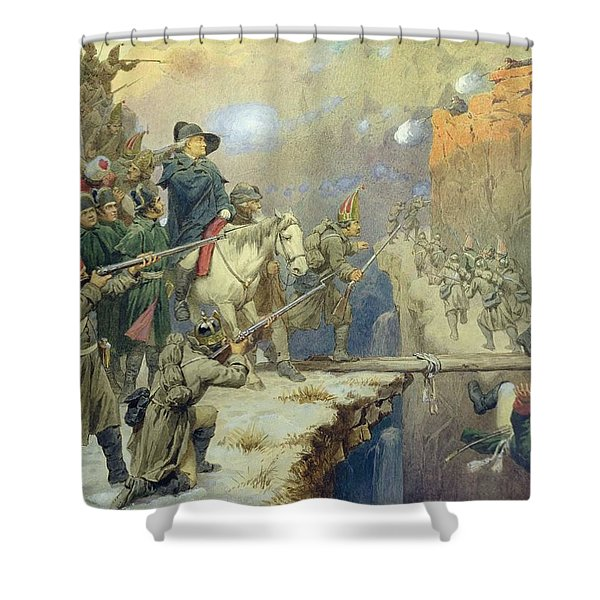 Suvorov Crossing The Devils Bridge In 1799, 1880 Wc On Paper Shower Curtain