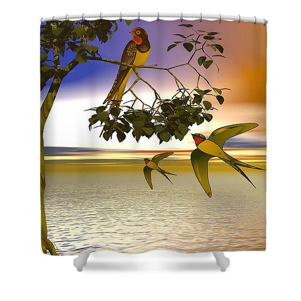 Shower Curtain featuring the digital art Swallows At Sunset by Sandra Bauser Digital Art