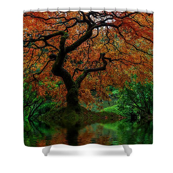 Swamped Japanese Shower Curtain