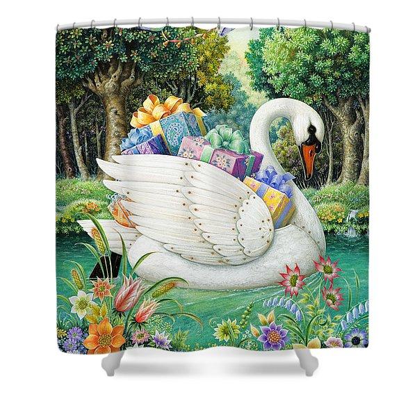 Swan Boat Shower Curtain