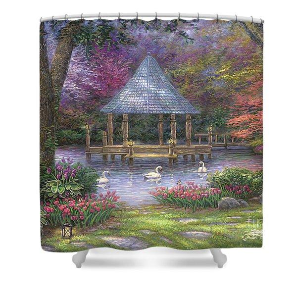 Swan Pond Shower Curtain