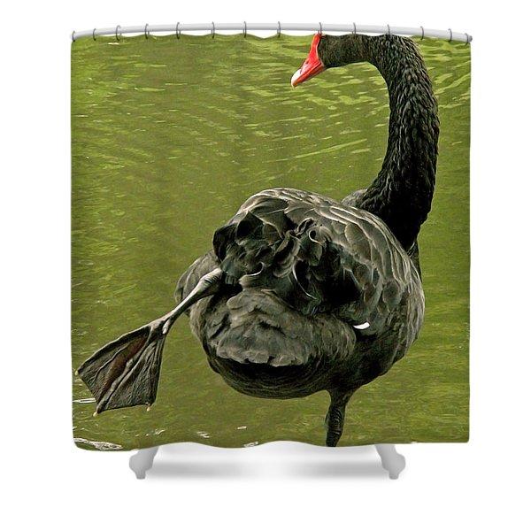 Swan Yoga Shower Curtain