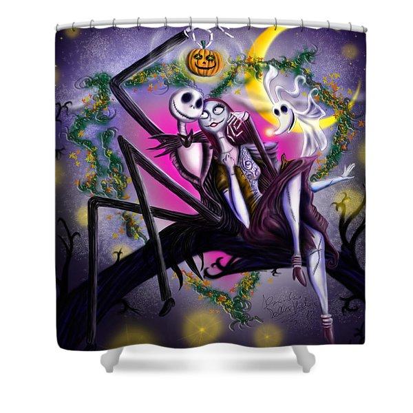 Sweet Loving Dreams In Halloween Night Shower Curtain