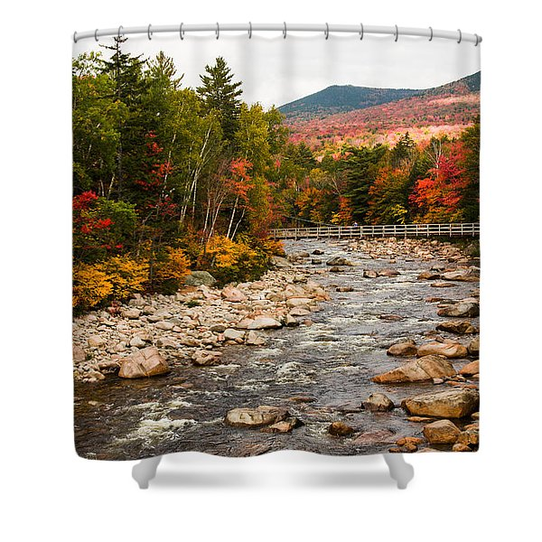 Swift River Painted With Autumns Paint Brush Shower Curtain