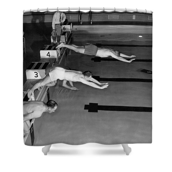 Swimming Race Start Shower Curtain