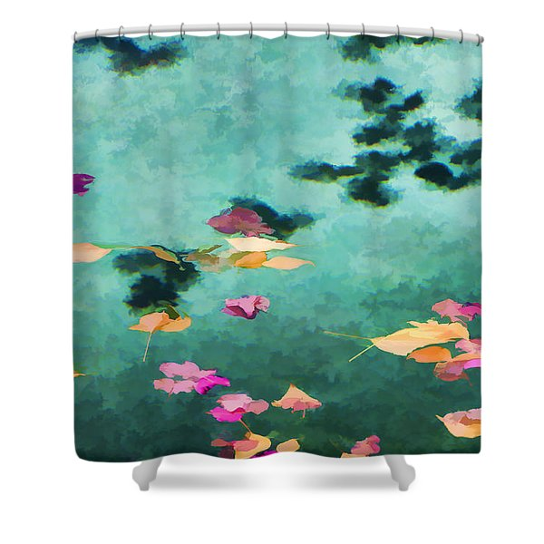 Swirling Leaves And Petals 6 Shower Curtain