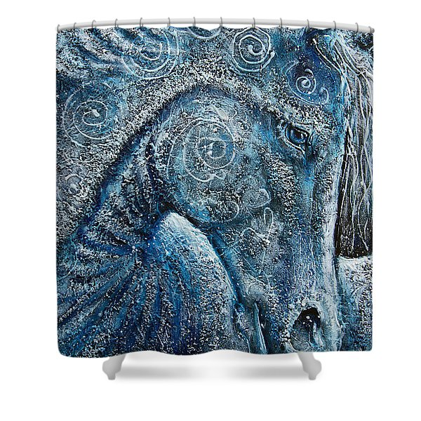 Swirling Spiraling Snow Shower Curtain