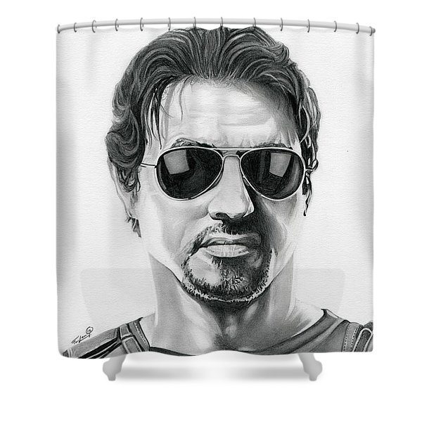 Sylvester Stallone - The Expendables Shower Curtain