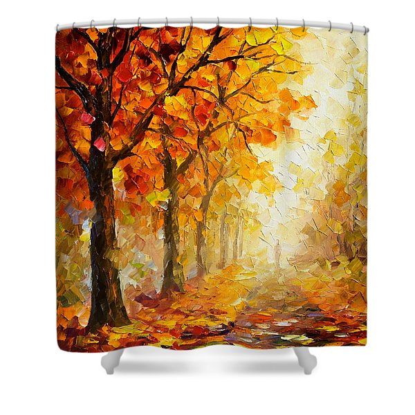 Symbols Of Autumn - Palette Knife Oil Painting On Canvas By Leonid Afremov Shower Curtain