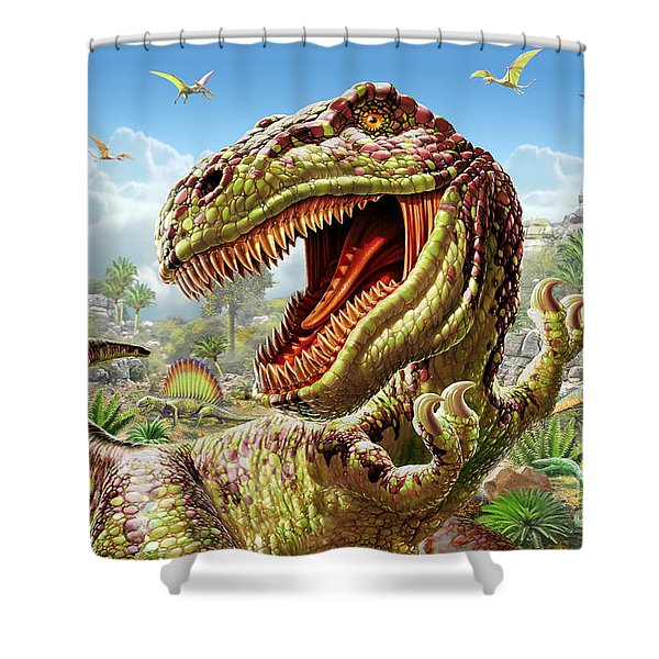 T-rex And Dinosaurs Shower Curtain