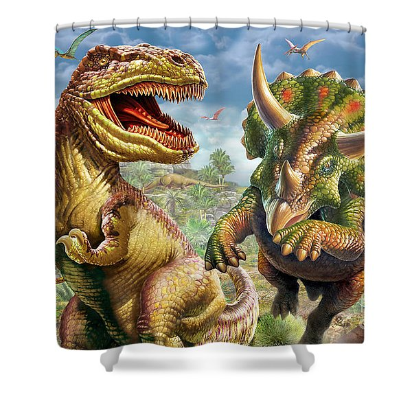 T-rex And Triceratops Shower Curtain