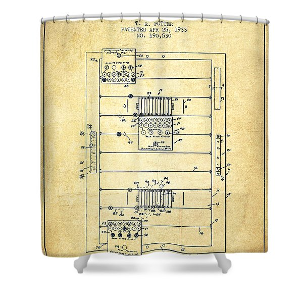 Table Football Game Patent From 1933 - Vintage Shower Curtain