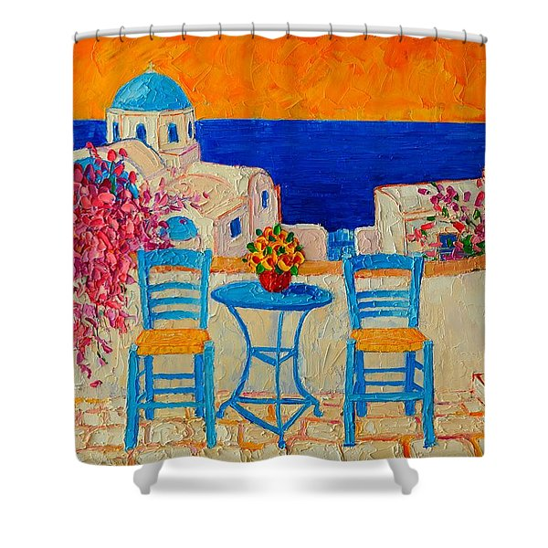 Table For Two In Santorini Greece Shower Curtain