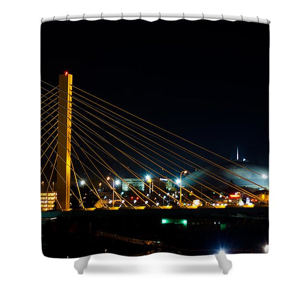 Tacoma Dome And Bridge Shower Curtain