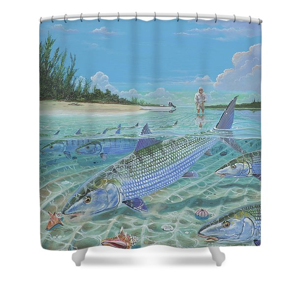 Tailing Bonefish In003 Shower Curtain