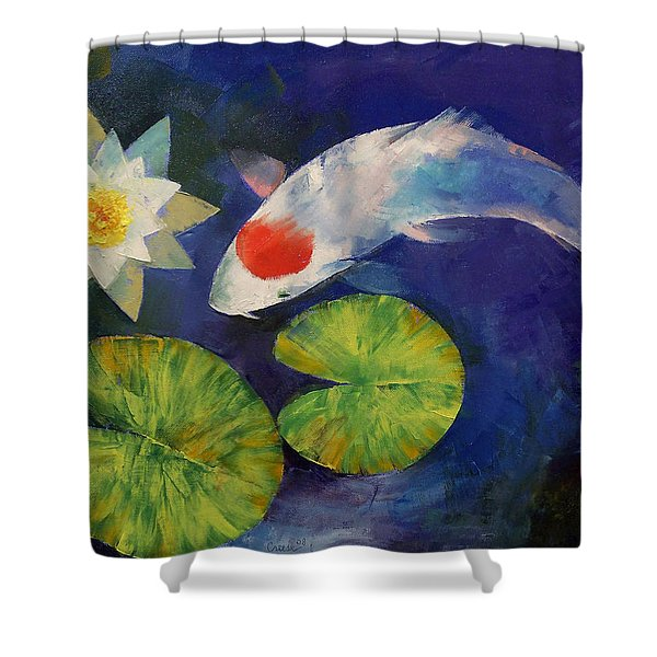 Tancho Koi And Water Lily Shower Curtain