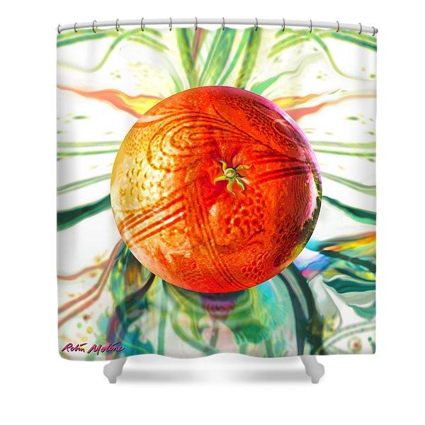 Tangerine Orb Nouveau Shower Curtain