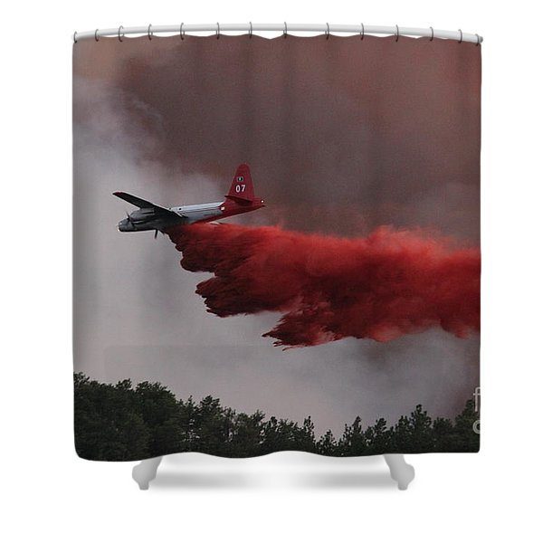 Tanker 07 Drops On The Myrtle Fire Shower Curtain