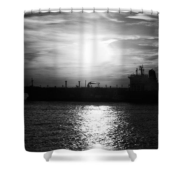 Tanker Twilight Shower Curtain