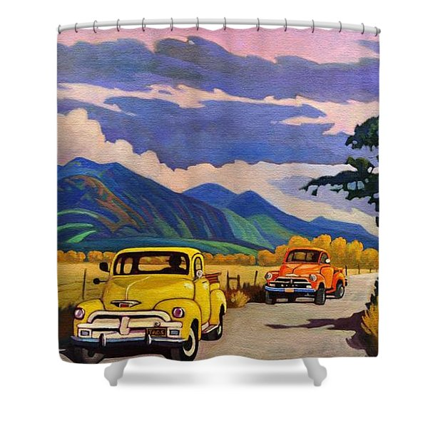 Taos Joy Ride With Yellow And Orange Trucks Shower Curtain