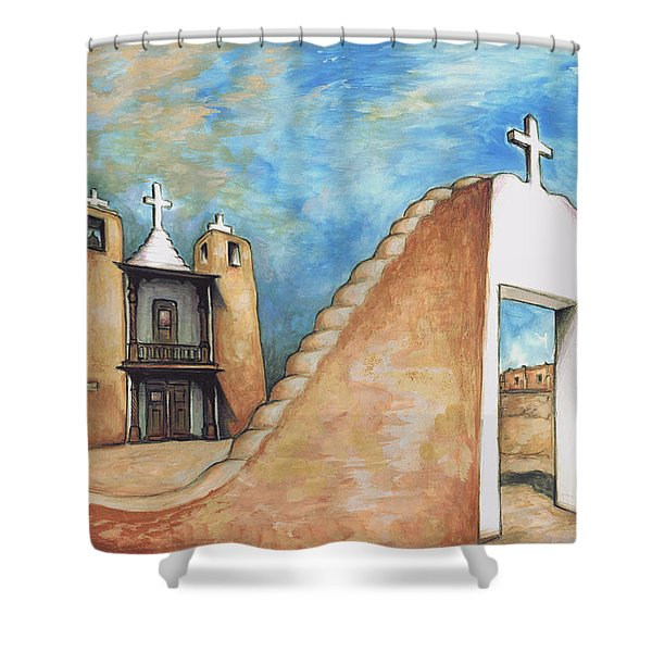 Taos Pueblo New Mexico - Watercolor Art Painting Shower Curtain