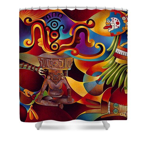 Tapestry Of Gods - Huehueteotl Shower Curtain
