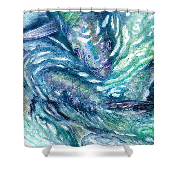Tarpon Frenzy Shower Curtain