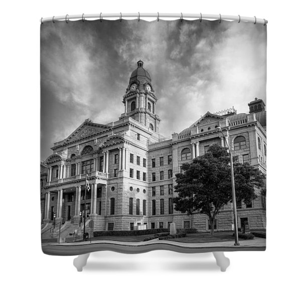 Tarrant County Courthouse Bw Shower Curtain