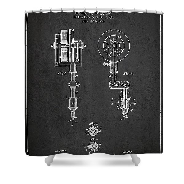 Tattooing Machine Patent From 1891 - Charcoal Shower Curtain