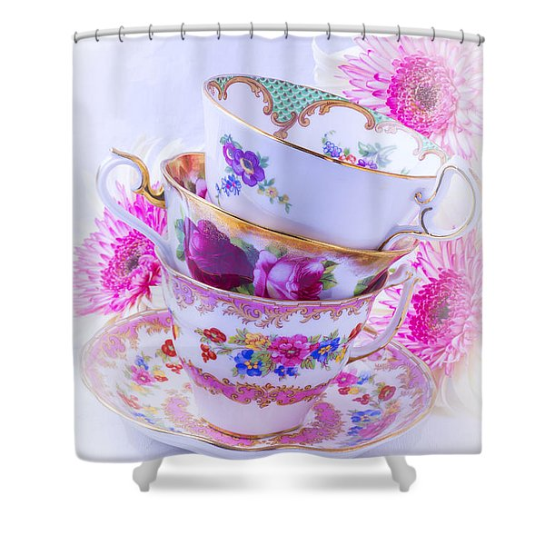 Tea Cups With Pink Mums Shower Curtain
