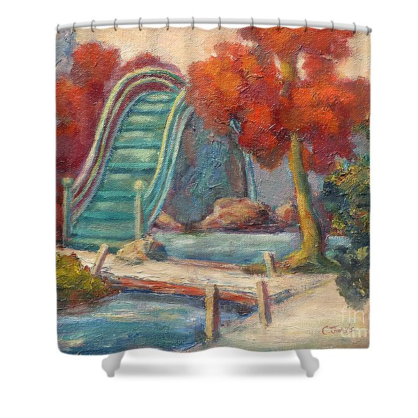 Tea Garden Bridge Shower Curtain