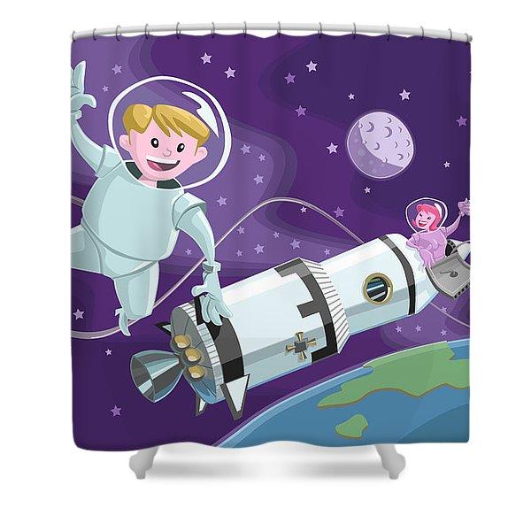 Tea Time Space Walk Shower Curtain