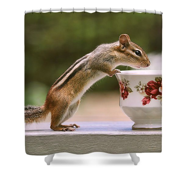 Tea Time With Chipmunk Shower Curtain