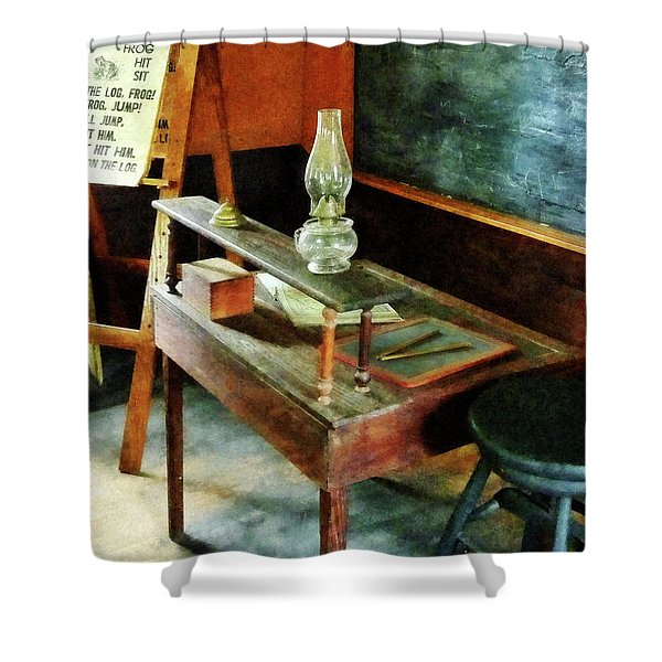 Teacher's Desk With Hurricane Lamp Shower Curtain