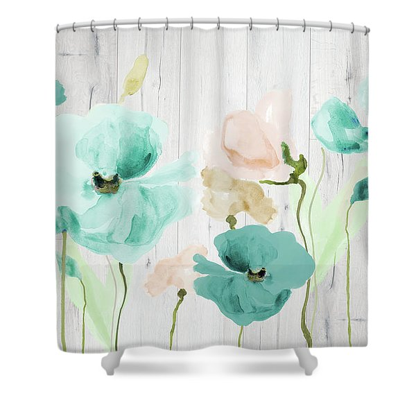 Teal Poppies On Wood Shower Curtain