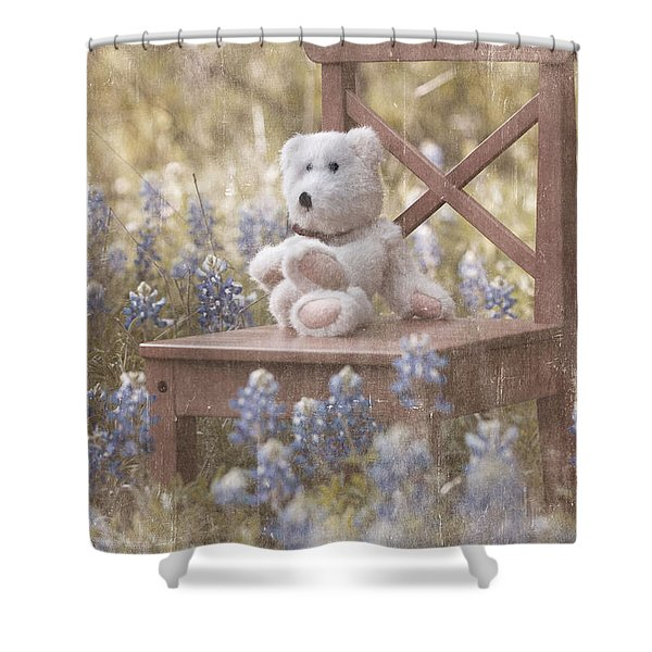 Teddy Bear And Texas Bluebonnets Shower Curtain