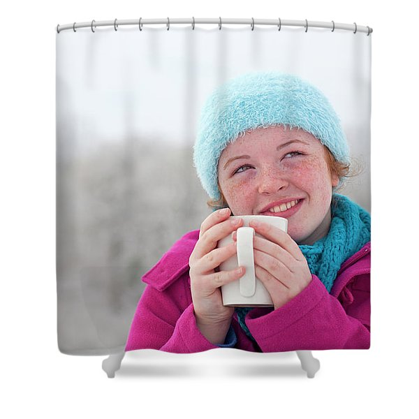 Teenage Girl Enjoying A Hot Chocolate Shower Curtain