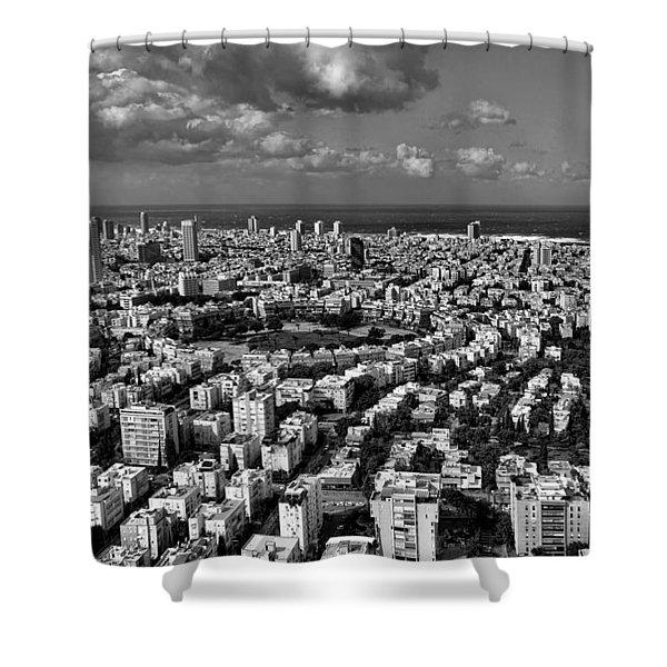 Tel Aviv Center Black And White Shower Curtain