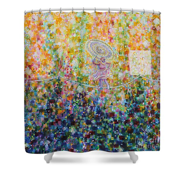 Temple Dance-tightrope  Shower Curtain