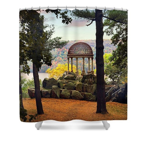 Temple Of Love In Autumn Shower Curtain