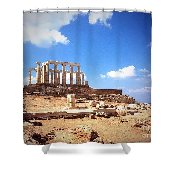 Temple Of Poseidon Vignette Shower Curtain
