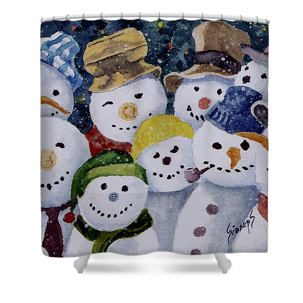 Ten Little Snowmen Shower Curtain
