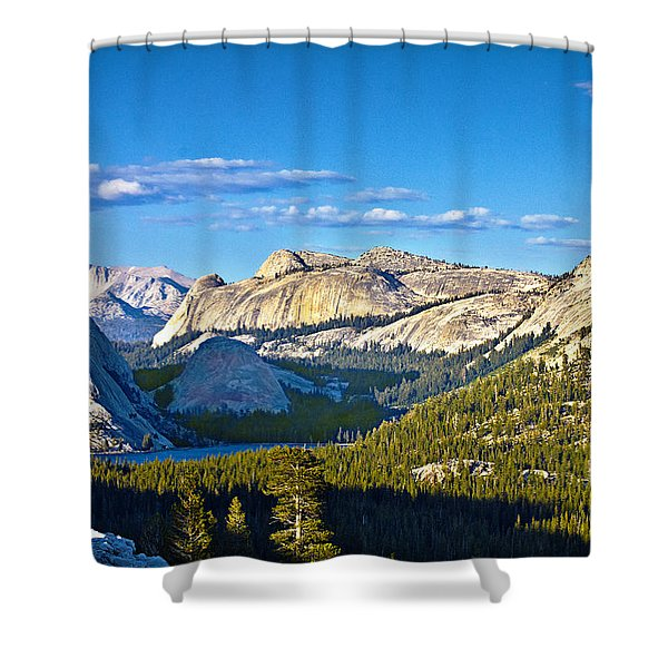 Tenaya Lake From Olmsted Point In Evening Shower Curtain