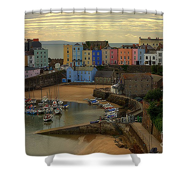 Tenby Harbour In The Morning Shower Curtain