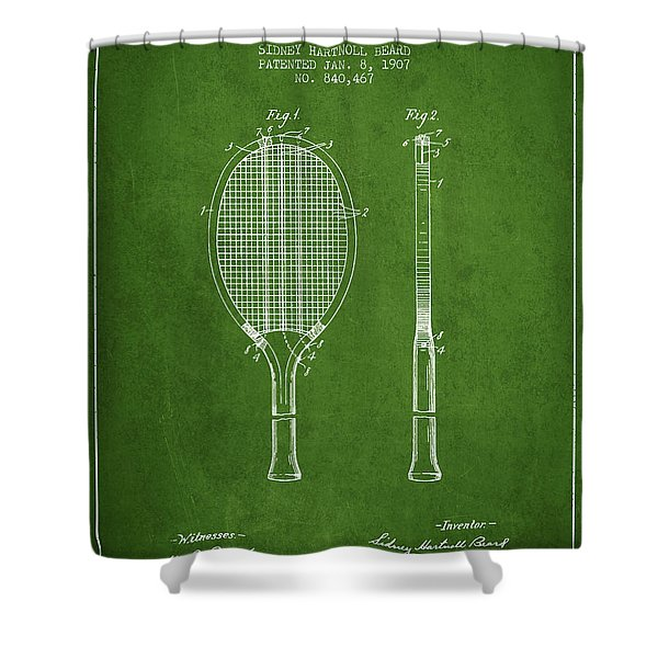 Tennis Racket Patent From 1907 - Green Shower Curtain