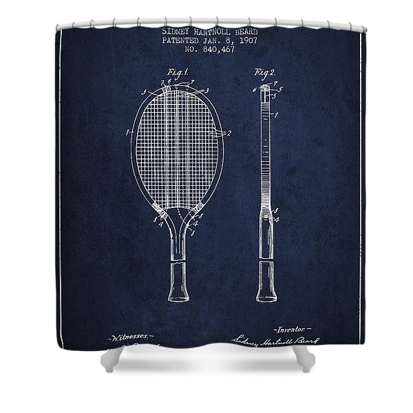 Tennis Racket Patent From 1907 - Navy Blue Shower Curtain