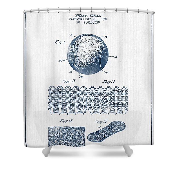 Tennnis Ball Patent Drawing From 1935  -  Blue Ink Shower Curtain