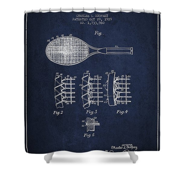 Tennnis Racket Patent Drawing From 1929 Shower Curtain