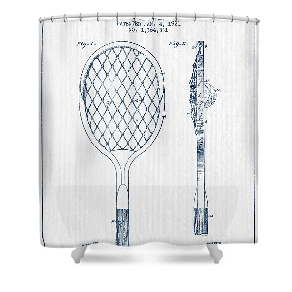 Tennnis Racketl Patent Drawing From 1921 -  Blue Ink Shower Curtain