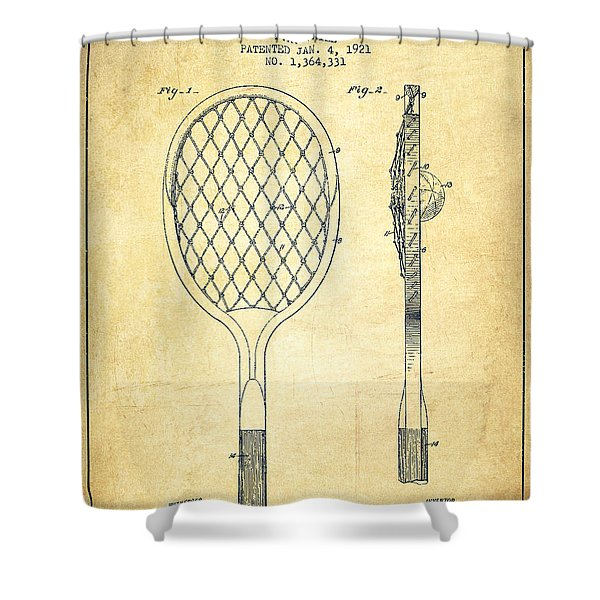 Tennnis Racketl Patent Drawing From 1921 - Vintage Shower Curtain